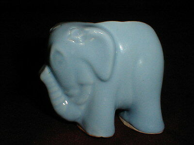 Brush McCoy Pottery Blue BABY ELEPHANT Planter - Trunk Up- Good Luck