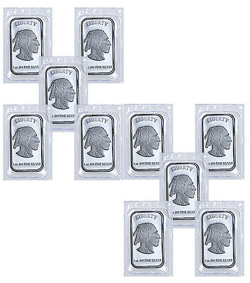 1 Troy Oz .999 Fine Silver Buffalo Liberty Bar -Lot of 10 Bars (Sealed) SKU41778