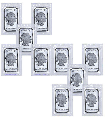 1 oz .999 Fine Silver Buffalo Liberty Bar -Lot of 10 Bars (Sealed) SKU41778