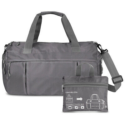 Travelon Featherweight Packable Duffle Travel Gym Bag Gray