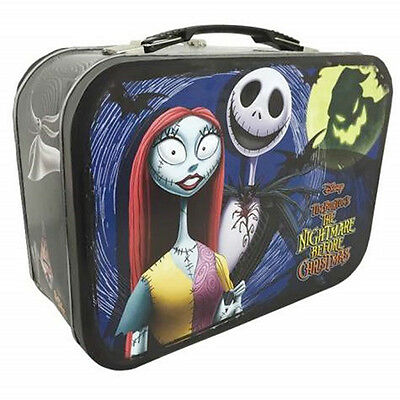 The Nightmare Before Christmas Jack and Sally Carry All Tin Tote Lunchbox, NEW