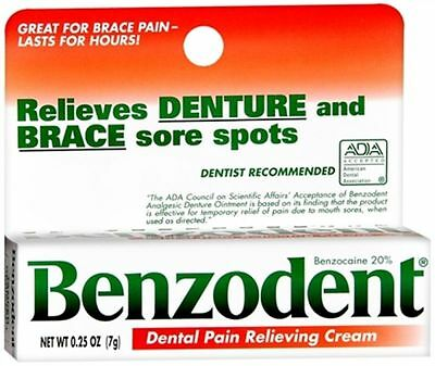 Benzodent Dental Pain Relieving Cream 0.25 oz: 2 packs