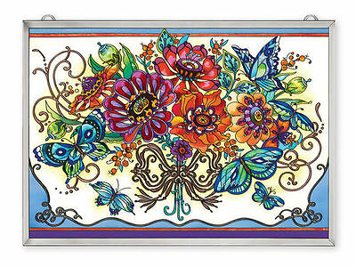 """AMIA STAINED GLASS 15.5"""" x 11"""" FRILLY FLORAL FLOWERS WALL WINDOW PANEL  #42362"""