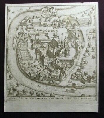 1642 Merian copper engraving WETTINGEN Canton Aargau over 370 year old