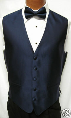 Mens Navy Dark Blue Herringbone Tuxedo Fullback Vest & Tie Choose Sizes