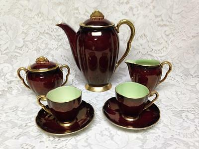 Vintage, Carlton Ware, England, 9pc Rouge Royale DemitasseTea Set for 2