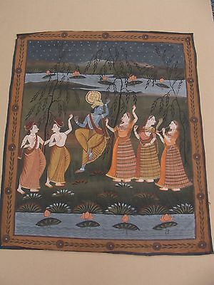 Antique 20c Indian Krishna & Dancing Gobis  Painting on silk panel 41 x 35""