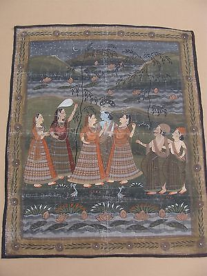Antique 20c Indian Krishna & dancing figures painting on silk panel 42 x 35""