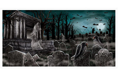 5ft Haunted Graveyard Ghost Wall Banner Halloween Scene Setter Party Decoration