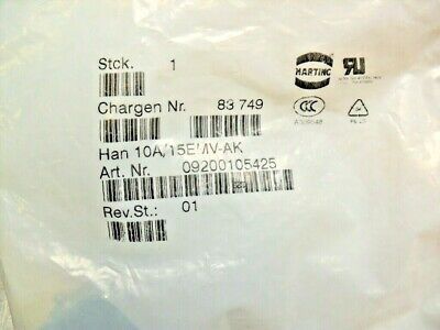 qty 2 - HARTING 09200105425 - 10A/15EMV-AK  Cover Electrical new sealed