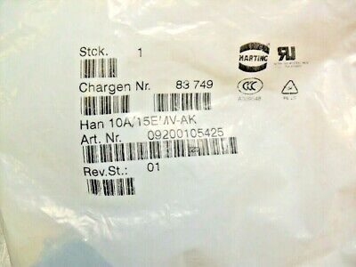 qty 5 - HARTING 09200105425 - 10A/15EMV-AK  Cover Electrical new sealed
