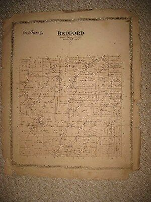 Antique 1872 West Bedford & Township Coshocton County Ohio Map Rare Nr