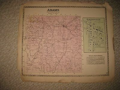 Antique 1872 Adams Township Bakersville Coshocton County Ohio Handcolored Map Nr