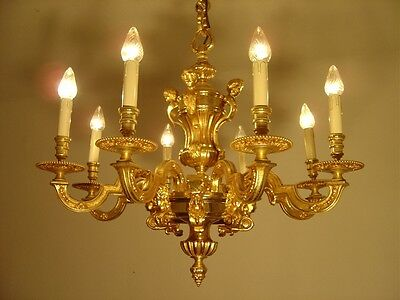 Heavy 8 Light Mazarin French Chandelier Gold Bronze Vintage Old Lamp Ancient