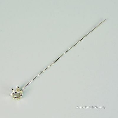 """6mm Round 2"""" Headpin Sterling Silver Snap Tite Setting"""