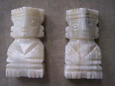 Onyx Stone Precolumbian Aztec/Maya/Toltec Idol/God Bookends - Mexico