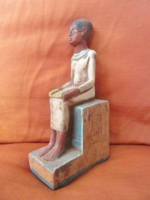 * RARE Antique Egyptian Statue of Ancient King Horemheb Siting Army Collection *