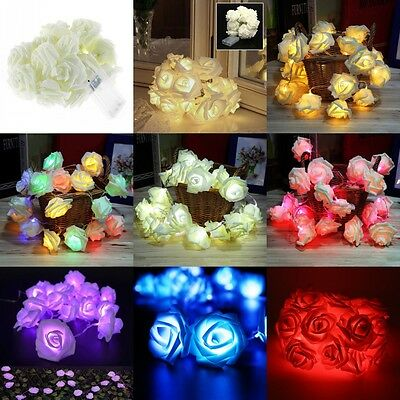 2.5M 20 LED Battery Rose Flower String Lights Wedding Party Christmas Decoration