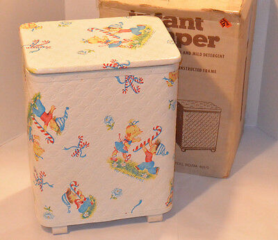 Vintage 1986 'pep=R-Mint Kids' Infant's Hamper! Colorful Graphics! Sturdy! W/box