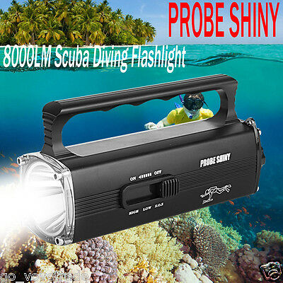 CREE XM-L2 T6 LED Zoomable 8000LM Scuba Diving Underwater 130m Flashlight Torch
