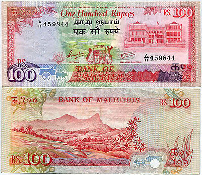 Mauritius 100 Rupees Nd 1986 P 38 Vf See Scan