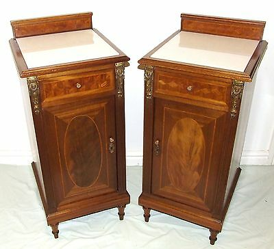 PAIR French Marquetry Louis XV Style Kingwood Bedside Cabinets Lamp Stand
