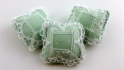 Dolls House Miniature Accessories Set of 3 Green Pillows Cushions Lace Detail