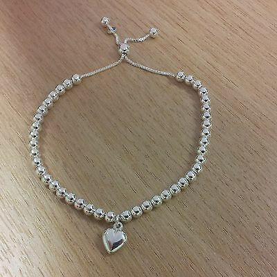 Sterling Silver Bead Slider Friendship Bracelet With Heart Charm