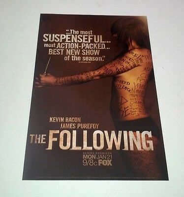 The Following Mini One Sheet TV Poster Kevin Bacon Purefoy Ashmore