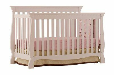 Stork Craft Venetian 4-in-1 Fixed Side Convertible Crib, White New