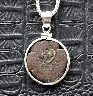 Authentic Pirate Shipwreck 1641 8 Maravedis Coin 925 Sterling Silver Necklace