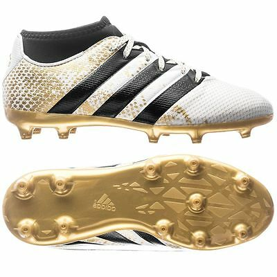 adidas Ace 16.3 Primemesh FG / AG  2016 Soccer Shoes White / Gold Kids - Youth