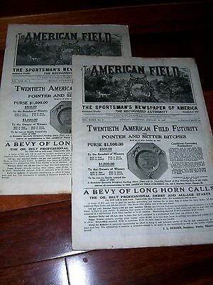 Lot Of 2 AMERICAN FIELD Sportsman's Newspaper Jan.1923 Hunting Dog Competitions