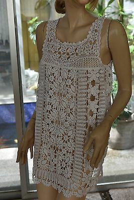 Lim's Vintage Intricate and Delicate Cotton Hand Crochet Mini Dress White Fit S