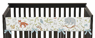 Forest Animal Toile Long Front Rail Guard Baby Teething Cover Crib Protector