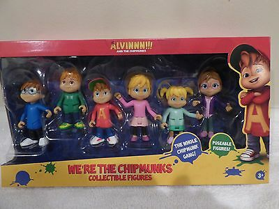 2016 Alvin And The Chipmunks + Chipettes Collectible 6 Poseable Figures