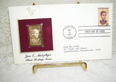 Golden Replica Of United States Stamps Black Heritage Series Jan E. Matzeliger