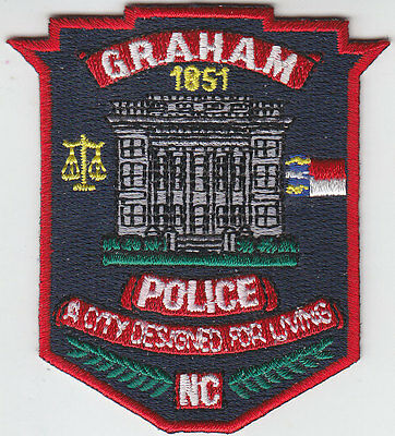 Graham NC North Carolina Police MINI/HAT PATCH A City Designed For Living 1851