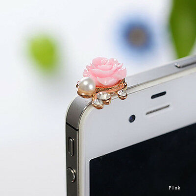 1pc Pink Pearl Roses Mobile Dustproof Plug Girls Phone Pendants Port Dust Cover