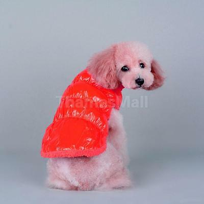 Pet Dog Puppy Cat Padded Fleece Winter Coat Down Jacket Vest Clothes Red L