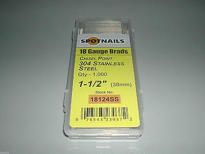 "18 Gauge 1 1/2"" Inch Brads Stainless Steel Brad Nails (1,000)"