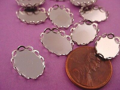 Silver tone Oval Lace Edge Bezel Cups 14x10 -12 Pieces