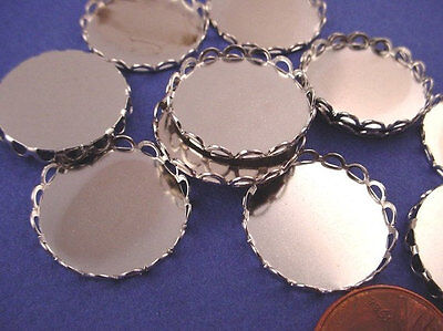 Silver tone Round Lace Edge Bezel Cups 18mm - 12 Pieces