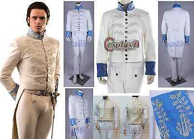 Disney Cenerentola Movie Principe Costume Vestito Carnevale Cosplay Bianco Dress