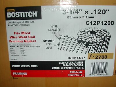 "Bostitch C12P120d 12d 3 1/4"" x .131"" Coil Nails Smooth Shank 15 Degree 12d Coil"
