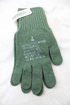 Genuine Wool Us Military Army Issue Od Green Combat Gloves / Liners Sz 4 Large