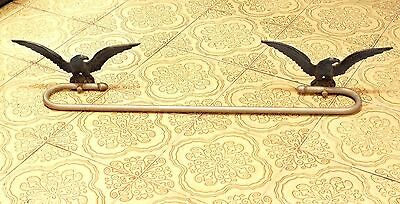 1920s Antique TOWEL RACK with Pair of IRON EAGLES Steel AMERICANA Spread Winged