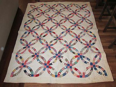 DAZZLING Vintage 30's Double Wedding Ring Antique Quilt Top ~GREAT COLORS!