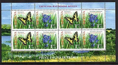 20009 LITHUANIA Flora & Fauna Butterflies / Flowers Sheetlet SG 984/5 u/mint