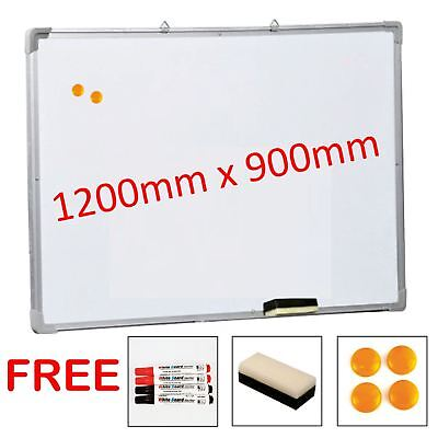 Magnetic Dry Wipe White Board Notice 1200 x 900mm Free Accessories Large Quality
